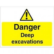 Unbranded Warning Sign Deep Excavations Fluted Board 45 x 60 cm