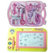 combo of Kids Drawing Writing magic Slate with fordable doctor play set (multicolor)