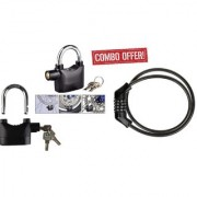 combo of anti theft alarm lock with siran voice 1 piece cable lock for home bicycle