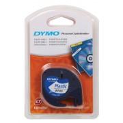 DYMO LetraTag Labeltape 91201 Plastic Zwart op Wit 12 mm x 4 m