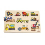 Hape Mighty Construction Kid's Wooden Vehicles Peg Puzzle