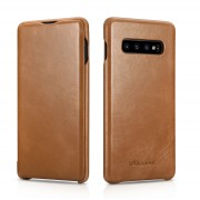 ICARER Curved Edge Vintage Genuine Leather Case for Samsung Galaxy S10 Plus - Brown