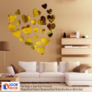 Look Decor-12 Large 12 Small Heart-(Golden-Pack of 24)-3D Acrylic Mirror Wall Stickers Decoration for Home Wall Office Wall Stylish and Latest Product Code Number 1034