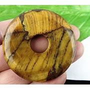 Tradico® Beautiful Naturally Tiger Eye Gem Round Dount Pendant Bead c527