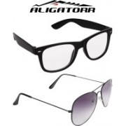 Aligatorr Aviator, Wayfarer Sunglasses(Clear, Grey)
