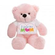 2 feet pink teddy bear wearing I Love You Mom T-shirt