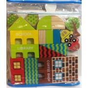 Creatology Town Blocks ~ 26 Piece Wood Block Set ~ Wooden Cars, Bushes, Trees, & Buildings