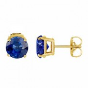 IGL Certified Natural Blue Sapphire Stud Earring Original Stone Neelam Panchdhatu Earring By Jaipur Gemstone