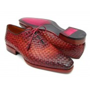 Paul Parkman Woven Leather Oxford Shoes Bordeaux & Smoke Brown 54HK42