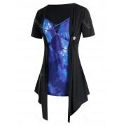 Rosegal T-shirt Drapé Croisé Galaxie à Manches Courtes de Grande Taille 3X