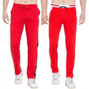Cliths Cotton Track Pants for Men/ Sports lower/ Jogger Pants- Pack of 2 (Red White Red Black)