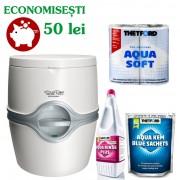 PACHET EXCELLENCE MB12: Toaleta PORTA POTTI EXCELLENCE manual + saculeti dizolvare deseuri + solutie igienizare + hartie