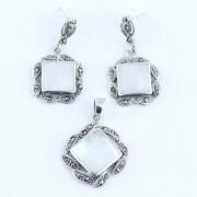 Set Din Argint 925 Decorat Cu Sidef Si Marcasite
