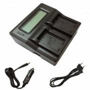 Ismartdigi FW50 LCD cargador doble con cable de carga de coche para Sony - negro