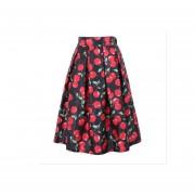 Impresión Digital Faldas Plisadas Imitación De Satén -01#