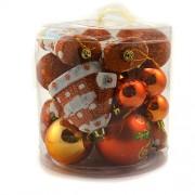 Set globuri pentru craciun portocalii cu sclipici