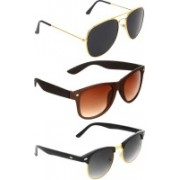Abner Aviator, Wayfarer, Clubmaster Sunglasses(Black, Brown, Black)