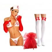 Set completino infermiera, calze e guanti rossi