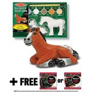 Horse Figurines Horses Figurines: Decorate-Your-Own Kit + FREE Melissa & Doug Scratch Art Mini-Pad Bundle [42444]