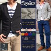 Vネックコットンニットカーディガン メンズニット・セーター【リュリュ】 ベルーナ