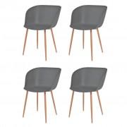 vidaXL Jídelní židle 4 ks šedé plastové sedáky, ocelové nohy
