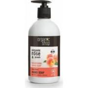 Sapun lichid Organic Shop nutritiv cu piersica si trandafir Rose Peach, 500 ml