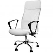 Fotel Obrotowy Biurowy Ergonomiczny + Skóra Biały
