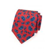 Červená hedvábná kravata s modrými paisley motivy Avantgard 620-62905