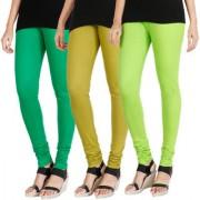 HRINKAR LIGHT GREEN LIGHT GREEN FLUROSCENT GREEN Soft Cotton Lycra Plain leggings for womens combo Pack of 3 Size - L XL XXL - HLGCMB0576-XL