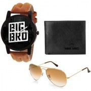 (RKCOM01)Graphics Watches by Wake Wood Brother Sister Rakhi Collection with Free Wallet Fashion Shades