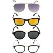 NuVew Oval, Rectangular, Retro Square, Wayfarer Sunglasses(Clear, Grey, Golden, Grey, Orange)