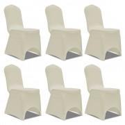 vidaXL Kremowy elastyczny pokrowiec na krzesło, 6 szt.