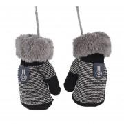 Cómoda de invierno espesar Velvet bebé lactante Chicas Chicos mantenga caliente guantes Negro