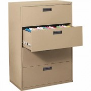 Sandusky Lee 400 Series 4-Drawer Lateral File Cabinet - Tropic Sand (Brown), 30 Inch W x 18 Inch D x 53 1/4 Inch H, Model E204L-04