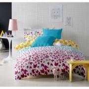 Lenjerie de pat Dormisete bumbac 100 Loving Matisse Rose pentru pat 2 persoane 4 piese 180x215 / 50x70 cearceaf pat uni turqoaz