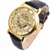 Ceas UNISEX casual elegant Geneva Quartz Q193 curea piele negru-auriu