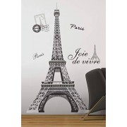 RoomMates York Wallcoverings RMK1576GM Adhesivos Gigantes de Despegar y Adherir para la Pared de la Torre Eiffel Blanco