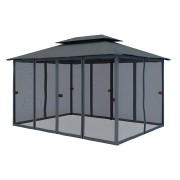 Paramondo Zestaw ścian bocznych do pawilonu ogrodowego Comfort, 3x4 m, z moskitierami, antracytowy, 6 szt.