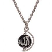 MissMister Silver Plated Black Enamel Allah/786 Word Both Side Rotating Coin Pendant Muslim Islamic Jewellery Men Women Spiritual Moslem