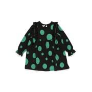【54%OFF】MILU BAMBINO ドットプリント フリル ギャザー切替 長袖ドレス ブラックxグリーン 6a ベビー用品 > 衣服~~ベビー服