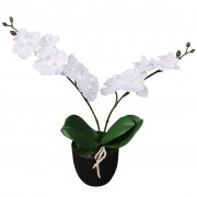 vidaXL Plantă artificială orhidee cu ghiveci, 30 cm, alb