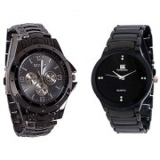 TRUE COLORS NEW Rosra Black And IIk Collection Black Men Watches Combo Of 2 Watches