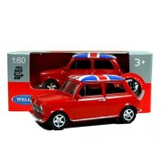Mini Cooper Mini Model (Red) with Union Jack Top Made of Die Cast Metal and Plastic Parts