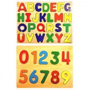 Wooden Puzzles Bundle - 2 Items: One Wooden Alphabet Puzzle One Wooden Numbers Puzzle
