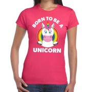 Bellatio Decorations Born to be a unicorn gay pride t-shirt roze dames