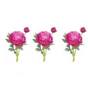 Bellatio flowers & plants 3x Fuchsia roze Ranonkel kunstbloemen 35 cm voor binnen