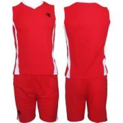 Echipament de baschet rosu si alb pentru adolescenti