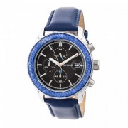 Breed Maverick Chronograph Leather-Band Watch w/Date - Silver/Blue BRD7504
