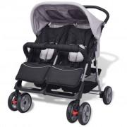 Sonata Бебешка количка за близнаци, стомана, сиво и черно