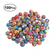 LUOEM 100PCS 32MM Children Mixed Elastic Balls Bright Color Mixing Machine Toy Balls Latex Cartoon Bouncing Balls Christmas Birthday Gift for Children (Assorted Color)